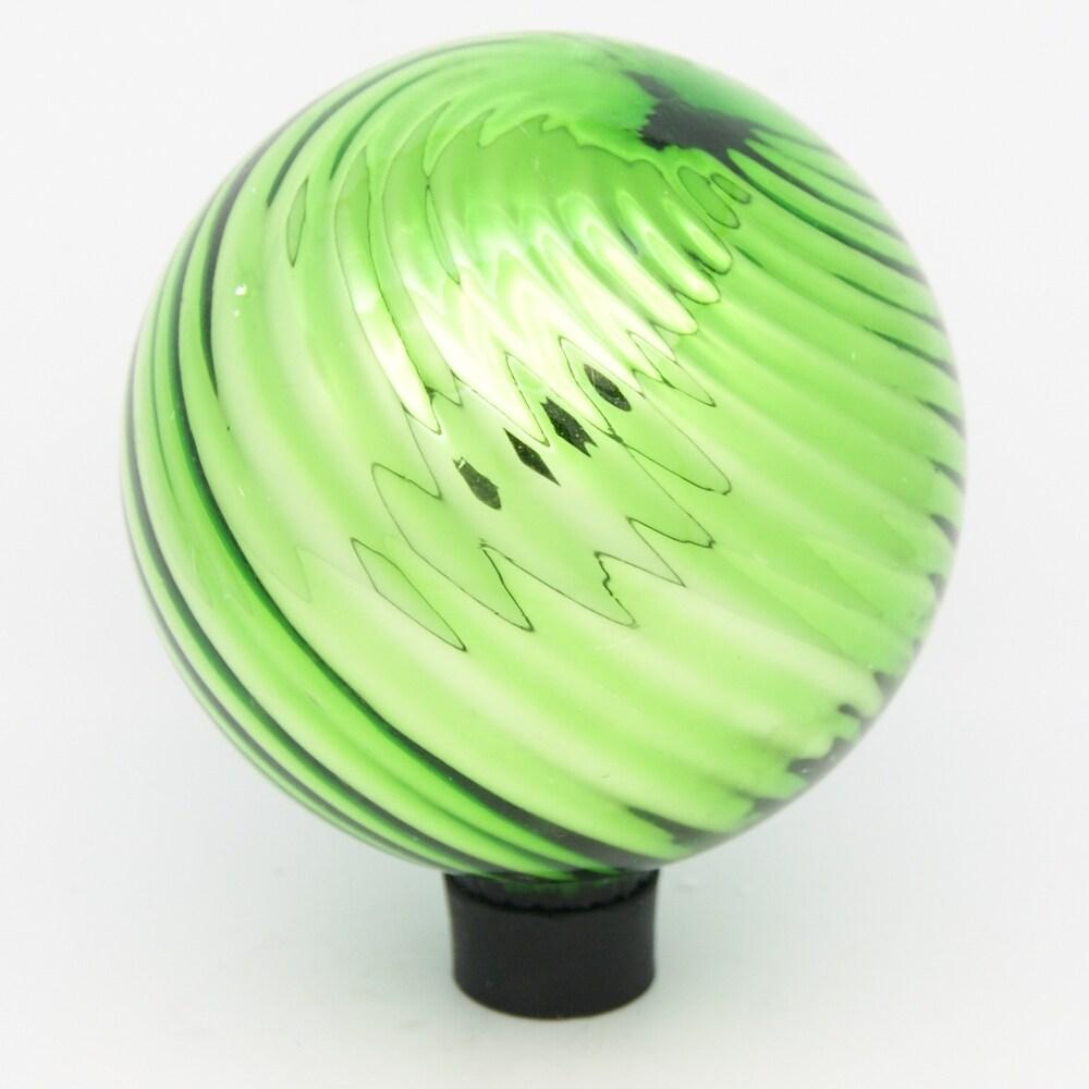 6 in. Green Swirl Plated Glass Gazing Globe - Thumbnail 0