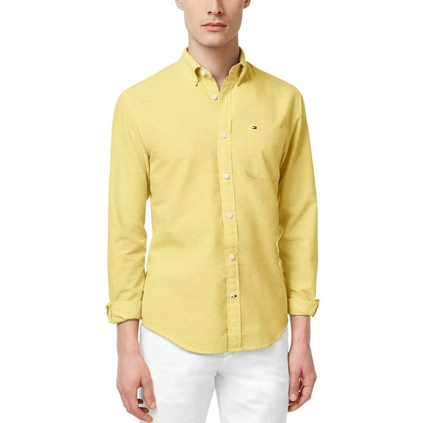 fc68245df7fc Shop Tommy Hilfiger Custom Fit Yellow Long Sleeve Button Down Shirt Large L  - Free Shipping On Orders Over  45 - Overstock - 19741018