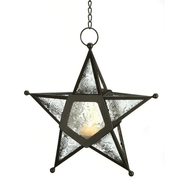 Natural Clear Glass Star Lantern
