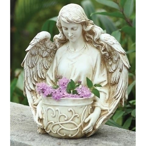 """12.5"""" Ivory Religious Angel Bust Outdoor Patio Garden Planter - N/A"""