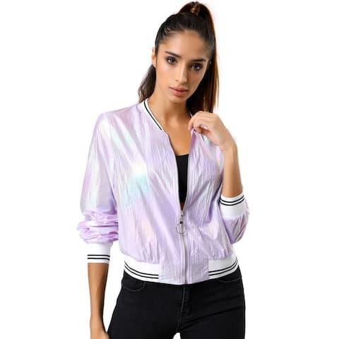 Women's Holographic Fashion Stand Collar Metallic Lightweight Zip Bomber Jacket