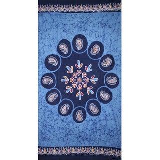 Handmade Cotton Multi Batik Floral Mandala Block Print Curtain Drape Blue Green 47x85