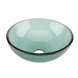 Glass Vessel Sink with Drain Frosted Green Tempered Glass Mini Bowl Sink
