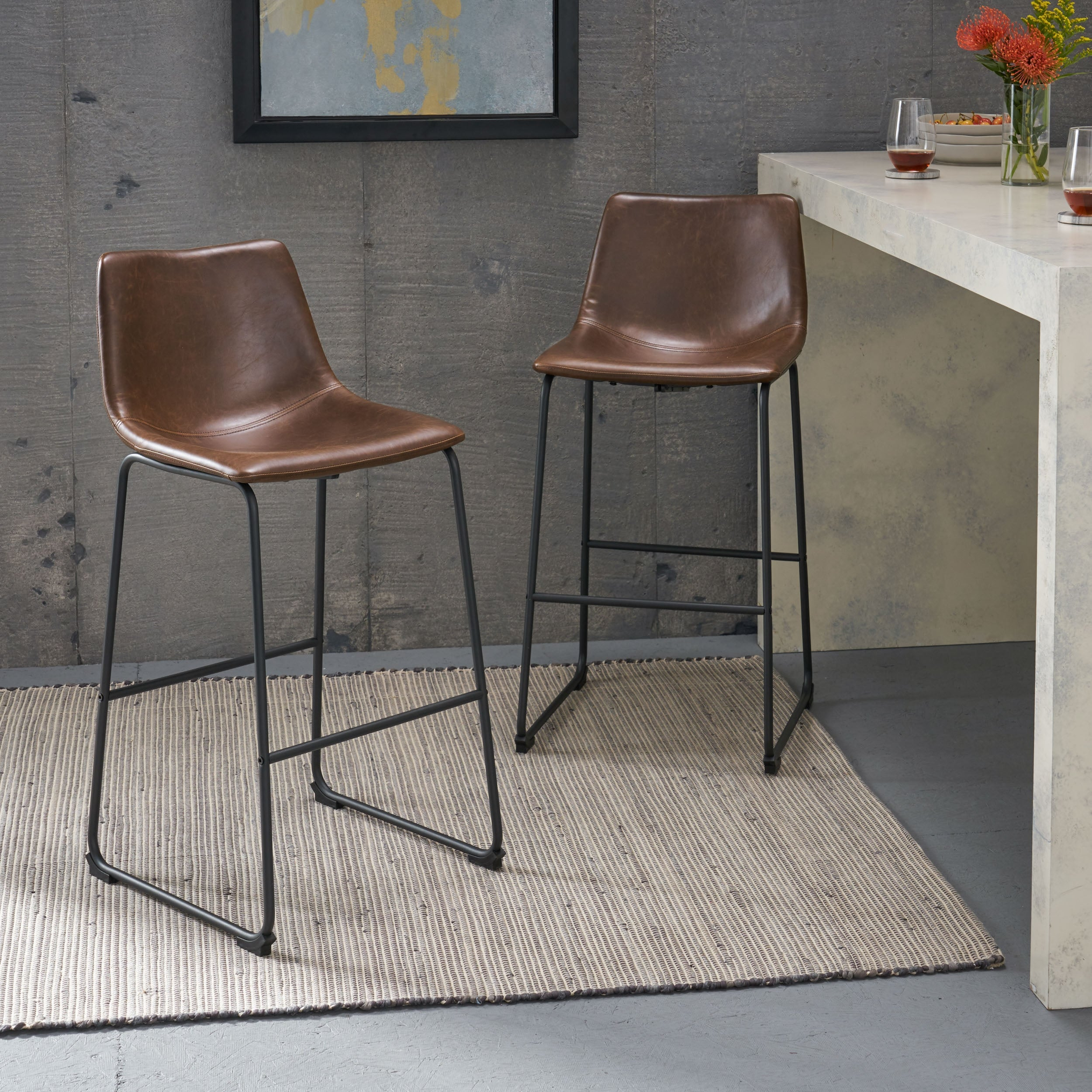 Carbon Loft Diggory 30 Inch Faux Leather Barstools Set Of 2 On Sale Overstock 12026956