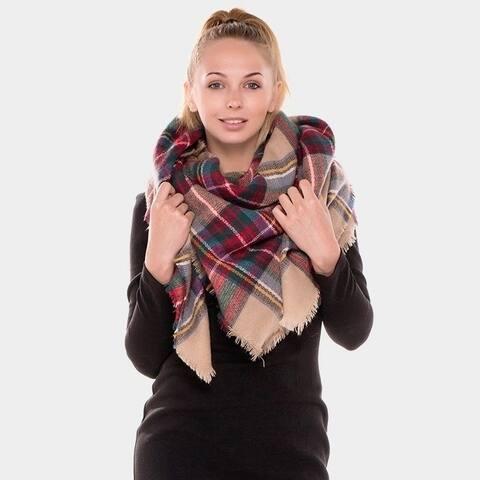 Amtal Women Stylish Warm Plaid Checkered Tartan Blanket Wrap Winter Scarf