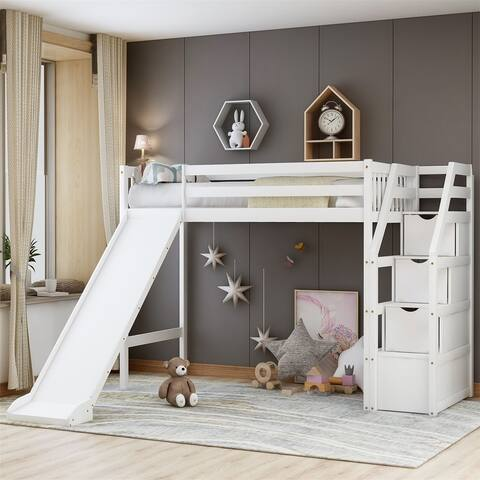Merax Twin Size Loft Bed with Storage and Slide