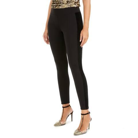 I.N.C. Plus Women's Velvet Tuxedo High-Waisted Leggings, Black, XXL