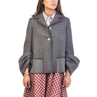 Prada Women's Virgin Wool Ribbed Coat Grey