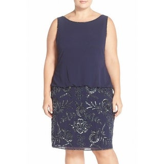 Adrianna Papell NEW Blue Embellished Women Size 24W Plus Sheath Dress