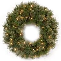 "24"" Atlanta Spruce Artificial Christmas Wreath - Clear Lights - Green"