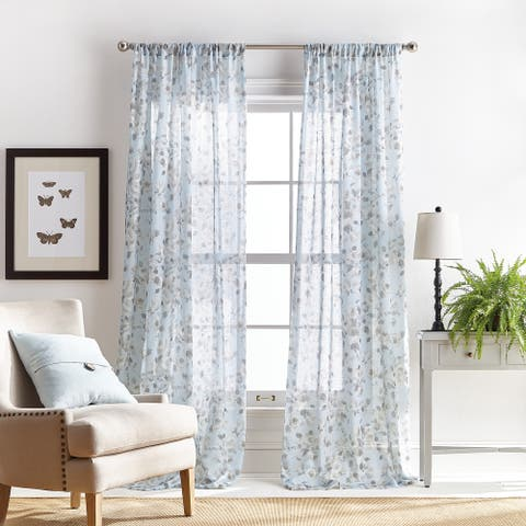 Martha Stewart Annabelle Floral Sheer Rod Pocket Single Curtain Panel