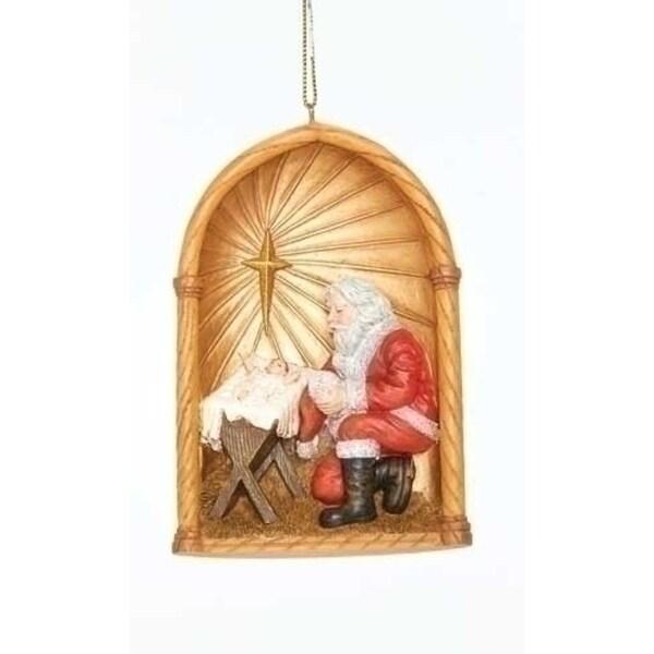 "4"" Kneeling Santa Religious Baby Jesus and Star Christmas Ornament - GOLD"