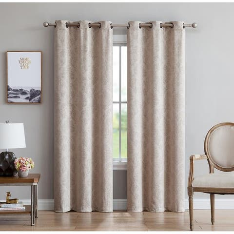 Gracewood Hollow Plakalo Embossed Thermal-weaved Blackout Grommet Drapery Curtains