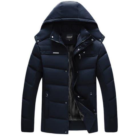 Men's Coats Hooded Fleece Faux Fur Lined Warm Coats Outwear Winter Jackets