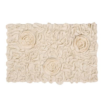 Bell Flower Collection Absorbent Cotton Machine Washable Bath Rug