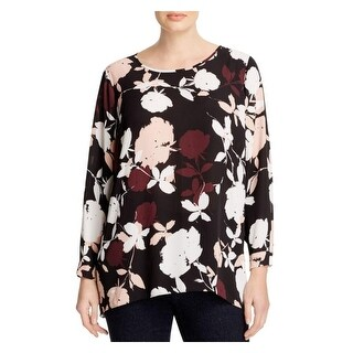 Vince Camuto Womens Plus Blouse Sheer Floral Print
