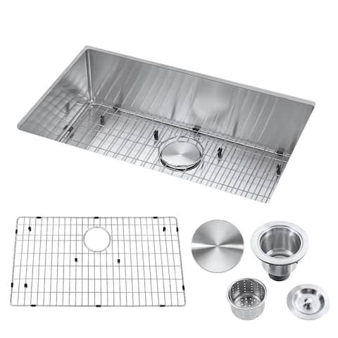 "30"" Undermount Single Bowl Stainless Steel Handmade Kitchen Sink & Drain Strainer, Bottom Grid, All in One (30"" x 18"" x 9"")"