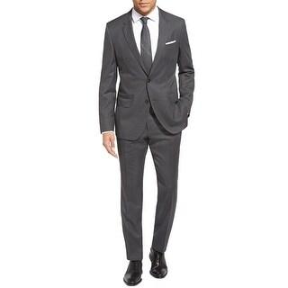 Hugo Boss Mens Huge/Genius Trim Fit Check Wool Grey Suit 40S Pants 34 Waist