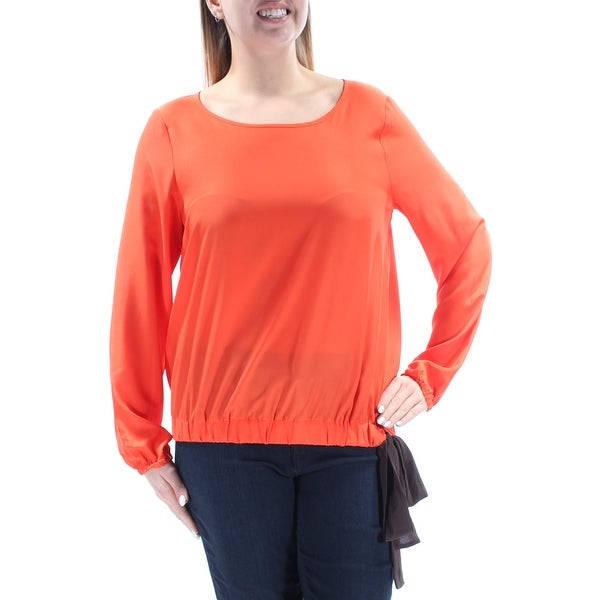 cfeb7bd4ca8867 Shop Womens Orange Black Long Sleeve Scoop Neck Casual Blouse Top Size L -  Free Shipping On Orders Over $45 - Overstock - 21388504