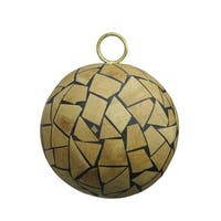 "Brown Humble Holiday Wood Mosaic Christmas Ball Ornament 4"" (100mm)"