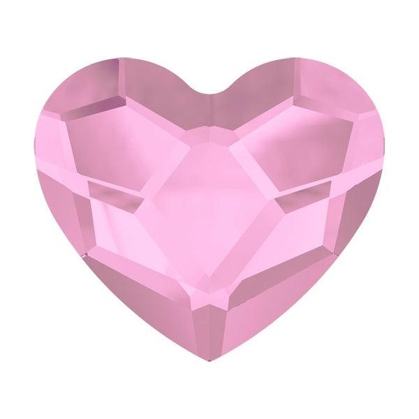 Swarovski Elements Crystal, 2808 Heart Flatback Rhinestone 6mm, 6 Pieces, Rosaline F