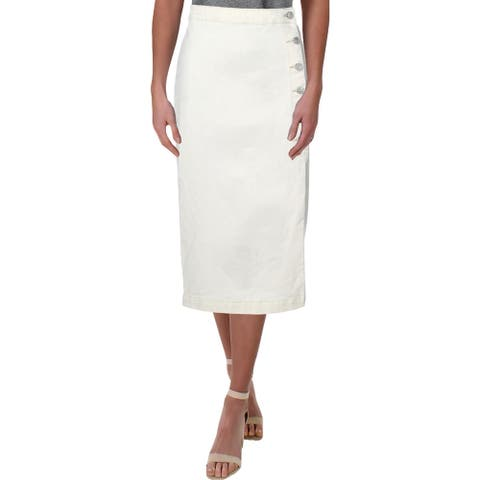 Free People Womens Denim Skirt High-Waisted Denim - Pebble White