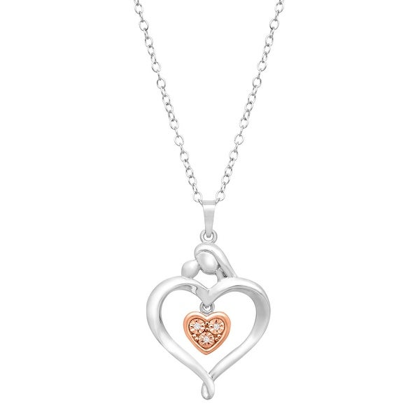 Mother & Child Pendant Necklace with Diamond in Sterling Silver & 14K Rose Gold