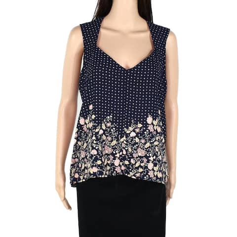 Soprano Womens Blouse Blue Size Large L Tank Floral Print Tie Back High Low 532