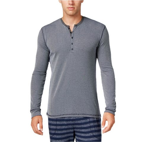 Kenneth Cole Mens Ribbed Henley Pajama Sleep T-Shirt