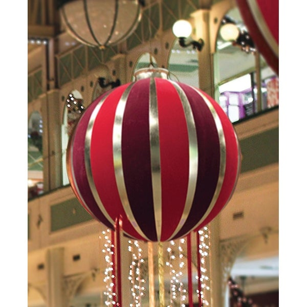 5' Huge Red & Gold Inflatable Christmas Ornament Commercial Display Decoration