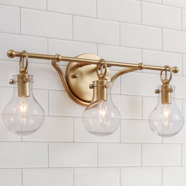 "Glam Gold 3-lights Bathroom Wall Sconce Globe Clear Glass Vanity Lighting for Powder Room - L 20""x H 8.5""x E 6"". Opens flyout."