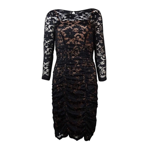 a037c993 Shop Jessica Howard Women's Lace Overlay Ruched Dress - On Sale ...