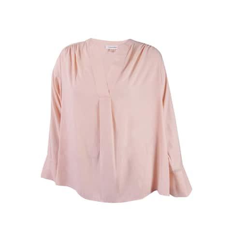 Calvin Klein Women's Petite V-Neck Bell Sleeve Blouse