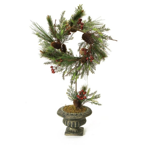 Pack of 2 Decorative Artificial Mixed Pine, Poinsettias and Pine Cones Potted Wreath Topiary 26""
