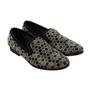 Steve Madden Caspian Mens Black Gold Textile Casual Dress Loafers Shoes
