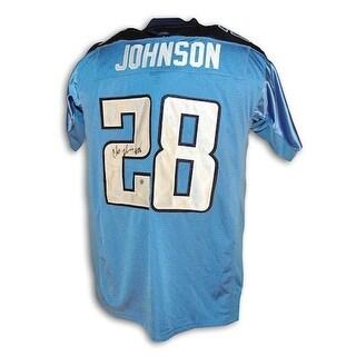 Autographed Chris Johnson Tennesse Titans Blue Reebok Authentic Jersey