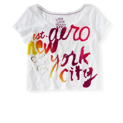 Aeropostale Womens Cropped New York City Graphic T-Shirt, White, X-Large