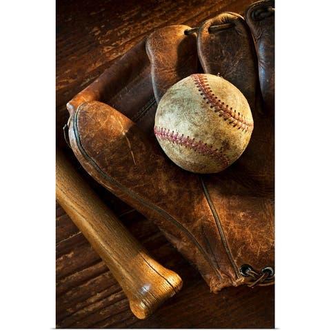 """Antique baseball on baseball glove with bat"" Poster Print"
