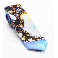 PENGUIN Blue Stillwell Abstract Printed Men's Graphic Skinny Necktie
