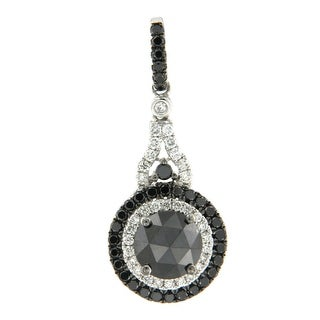 Prism Jewel 1.61CT Black Diamond with G-H/SI1 Natural Diamond Luxurious Pendant, 14k White Gold