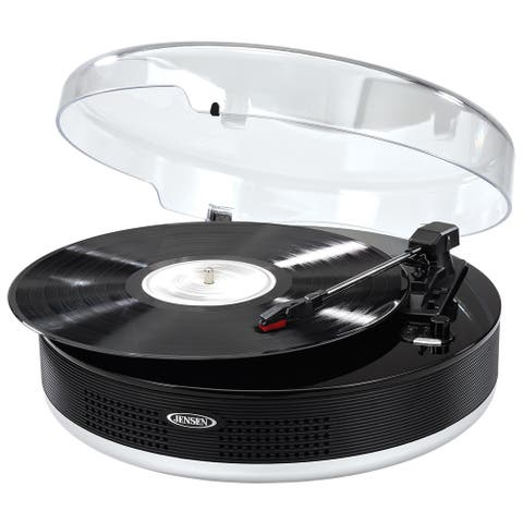 JENSEN JTA-455 3-Speed Stereo Turntable with Metal Tone Arm and Bluetooth Transmit