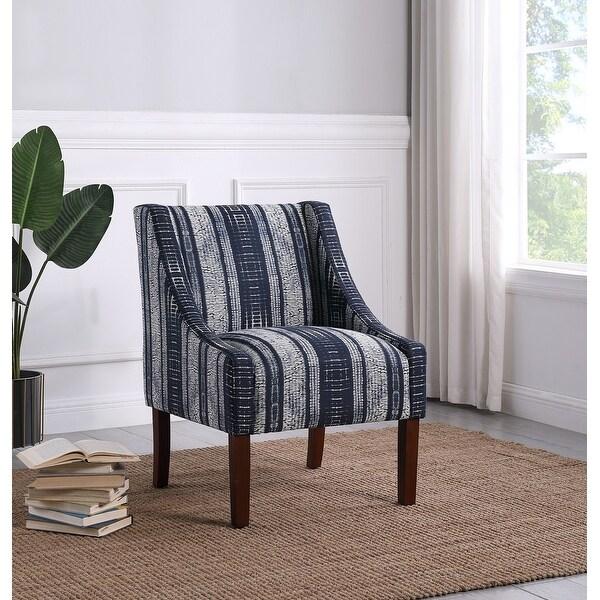 HomePop Modern Swoop Arm Accent Chair- Indigo Stripes. Opens flyout.