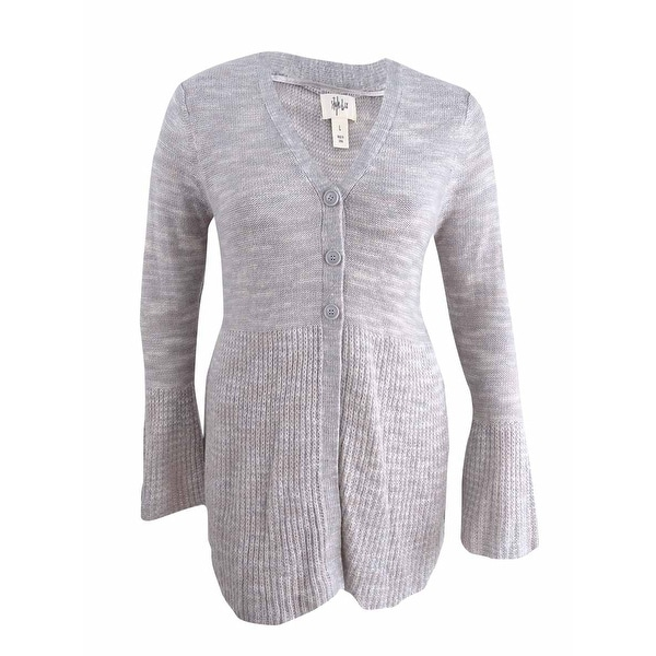 a6106eb8b6b Shop Style   Co Women s Bell-Sleeve Babydoll Cardigan (L