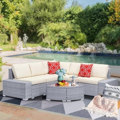 Zenova 6-Pieces Patio Rattan Sofa Wicker Sectional Sets with Pillows and Cushions