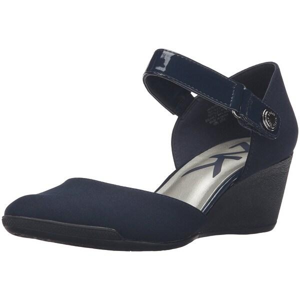 Anne Klein Womens TASHA Round Toe Ankle Strap Wedge Pumps