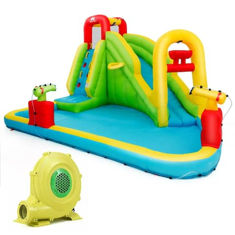 Outdoor Inflatable Water Bounce House with 480W Blower - Multi