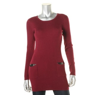 BCX Womens Tunic Sweater Patch Pockets Faux Leather Trim