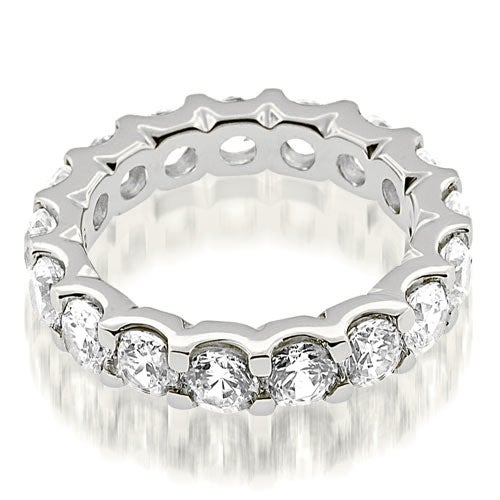 5.25 cttw. 14K White Gold Stylish U-Prong Round Cut Diamond Eternity Band Ring