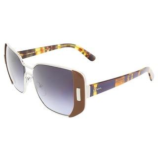 Prada PR 59SS USA5D1 Silver/Brown Rectangular Sunglasses