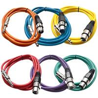 """SEISMIC (6) Colored 1/4"""" TRS XLR Female 6' Patch Cables"""